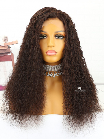 20in #2 Dark Brown Curly Indian Full Lace Wig[MS147]