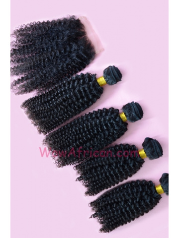 Peruvian Curl Brazilian Virgin Hair 3.5X4inches Middle Part Closure with 4pcs Weaves[WB39]