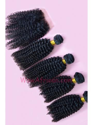 Brazilian Virgin Hair Peruvian Curl A Silk Base Closure with 4pcs Weft Bundles