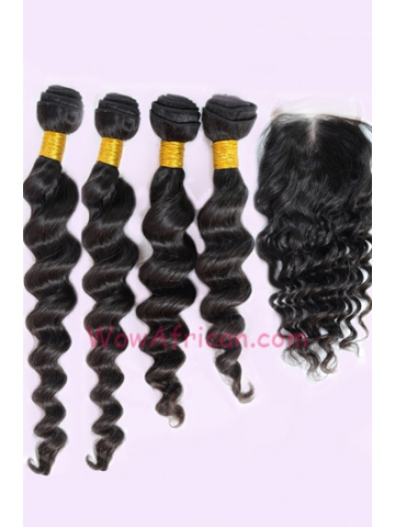 Indian Virgin Hair Milan Curl A Lace Closure with 4pcs Weaves Bundles