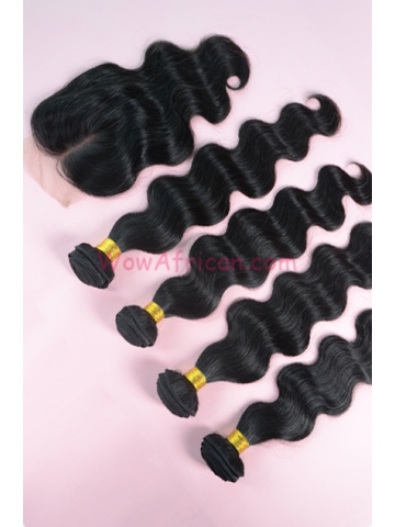 Body Wave Brazilian Virgin Hair 3.5X4inches Middle Part Closure with 4pcs Weaves