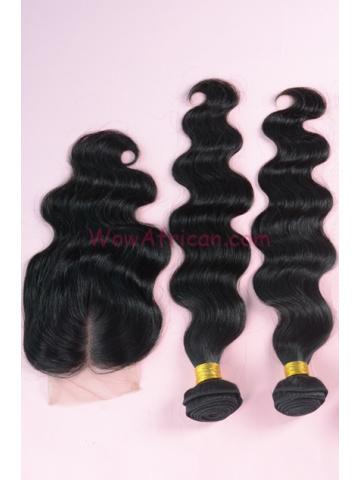 Brazilian Virgin Hair Body Wave A Silk Top Closure with 2pcs Weft Bundles