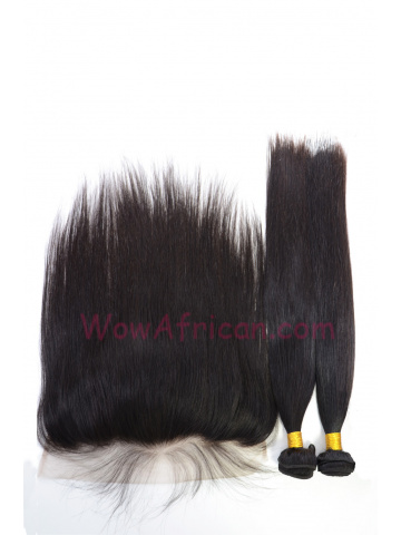 Virgin Brazilian Hair Silky Straight Lace Frontal with 2pcs Weaves[WB268]
