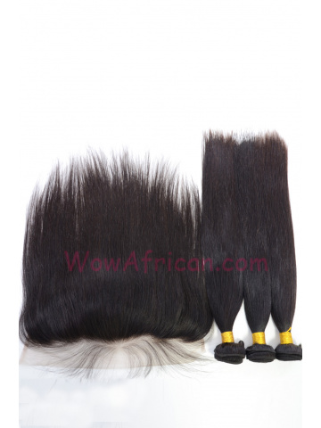 Silky Straight Virgin Brazilian Hair Lace Frontal with 3pcs Weaves[WB274]