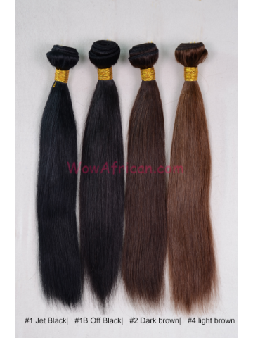 Colored (#1 #1B #2 #3 #4 #5) Straight Virgin Brazilian Hair Weave 4pcs Bundle[