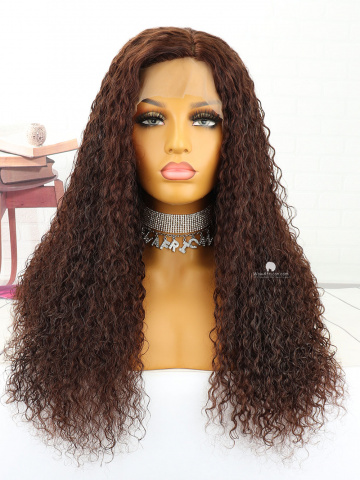 20in #2 Dark Brown Curly Indian Hair Silk Top Full Lace Wig[MS148]