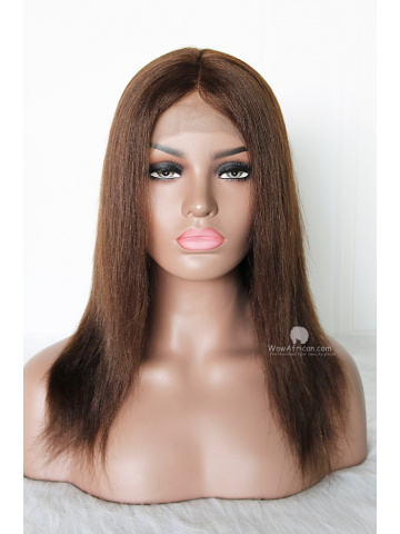 12in Dark Brown Yaki Straight Indian Remy Full Lace Wig[WCS70]