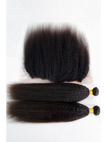 Virgin Brazilian Hair Italian Yaki Lace Frontal with 2pcs Weaves[WB265]