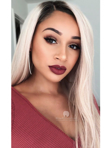 Ombre Ash Blonde Silky Straight Virgin Brazilian Hair Lace Front Wigs [CLW60]