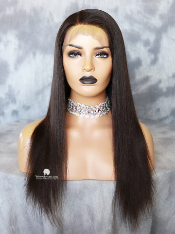 18in Natural Color Yaki Straight Brazilian Virgin Full Lace Wig[WCS191]