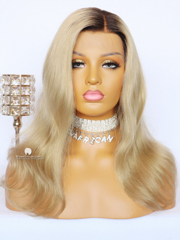Blonde Wavy HD Swiss Lace Front Wigs Virgin Brazilian Hair [LFW600]