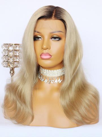 Ombre Blonde HD Film Lace Front Wigs Brazilian Hair [Bryana030]