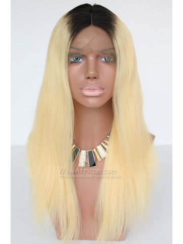 Dark Roots Blonde Color Virgin Brazilian Hair Lace Wig [CLW52]