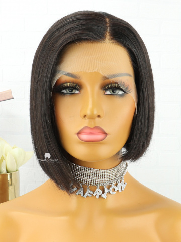 Natural Color Short Bob HD Film Lace Front Lace Wig Indian Hair [MS199]