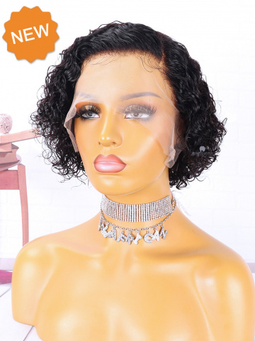 Curly Pixie Cut Bob Indian Hair Lace Front Wig [CBW47]