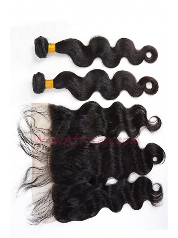 Virgin Brazilian Hair Body Wave Lace Frontal with 2pcs Weaves[WB269]
