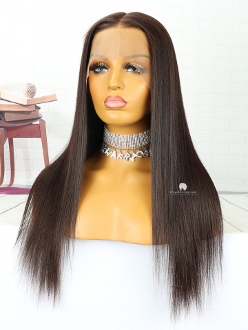 18in Silky Straight Dark Brown Brazilian Hair Full Lace Wig[MS97]