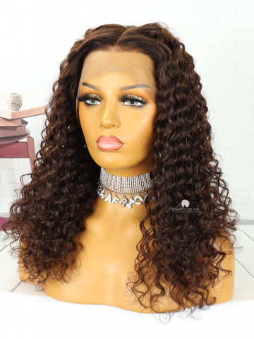 20in #4 Light Brown Deep Wave Brazilian Hair Full Lace Wig[MS98]