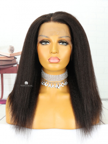 16in Italian Yaki Natural Color Front Lace Wigs Brazilian Hair [MS107]