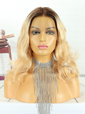 12in Ombre Blonde Wavy Front Lace Wigs Brazilian Hair [MS119]