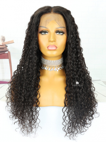 24in Natural Color Curly Dark Brown Lace Color Brazilian Full Lace Wig[MS117]