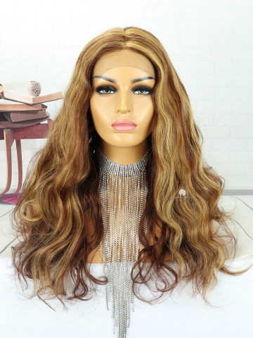 20in Brown Highlights Wavy Front Lace Wigs Brazilian Hair [MS120]