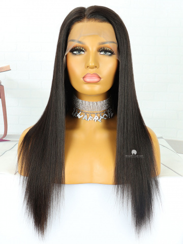 18in Natural Color Yaki Straight Brazilian Full Lace Wig[MS116]
