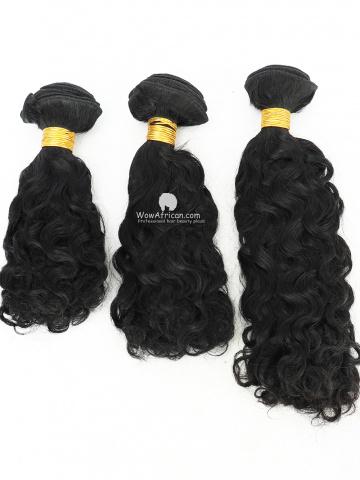#1 Jet Black Brazilian Curl Brazilian Hair Weave 3pcs Bundles[CS42]