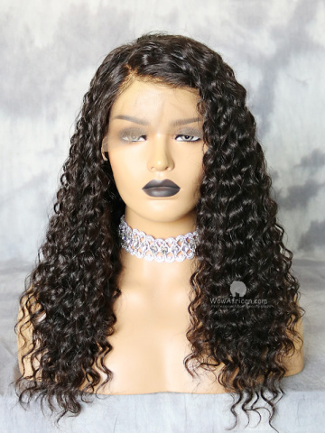 Natural Color Deep Wave Brazilian Virgin Lace Front Wig[WCS14]