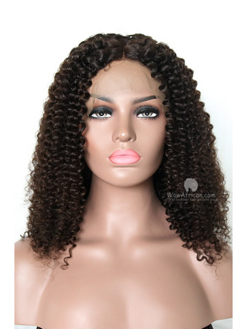 16in Natural Color Thick Density Curly Brazilian Virgin Lace Front Wig[WCS81]