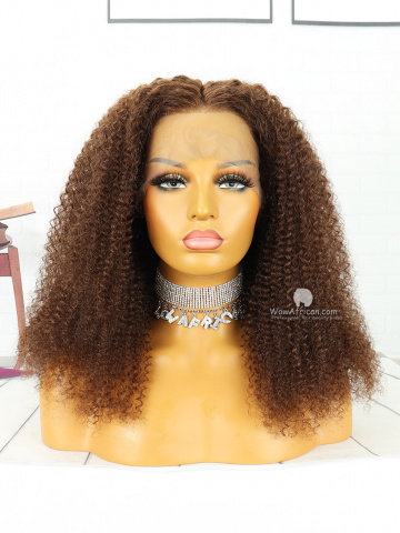 18in #4 Light Brown Curly Brazilian Virgin Hair Front Lace Wigs [MS71]
