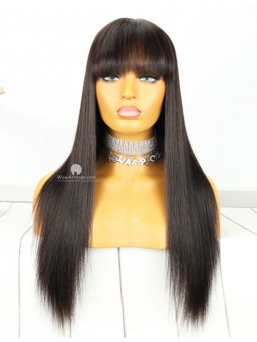 20in #1B Color Straight Hair With Bangs Brazilian Virgin Full Lace Wig[MS73]