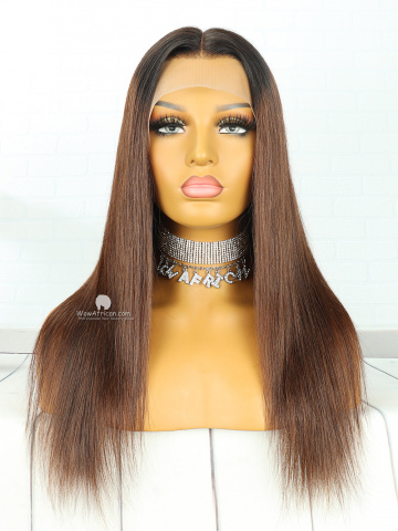 13X6in Thick  Density Honey Golden Brown Straight Lace Front Human Virgin Wig[HW09]
