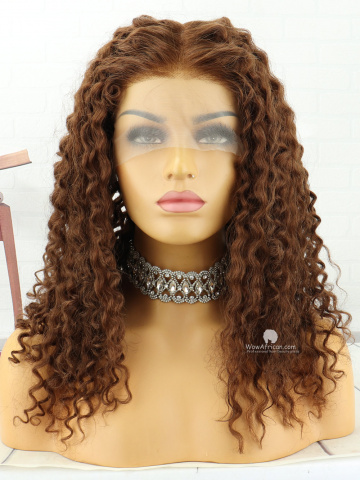 16in #4 Light Brown Curly Brazilian Virgin Lace Front Wig[MS183]