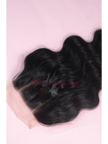 Natural Color Body Wave Virgin Brazilian Hair Three Part Lace Closure 4x4inches [TC02]