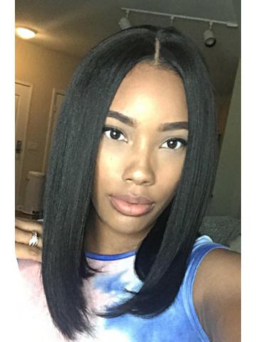 Classic Black Sexy Bob Brazilian Virgin Hair Lace Wig[CBW15]