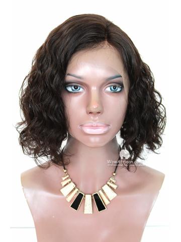 Chin-Length Wavy Bob Virgin Brazilian Hair Lace Front Wig [CBW24]