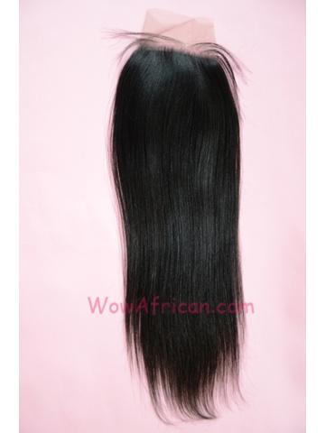 Natural Color Yaki Straight European Virgin Hair Lace Closure 4x4inches[LC32]