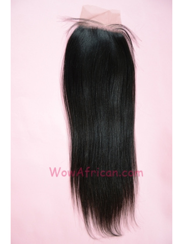 Natural Color Yaki Straight Brazilian Virgin Hair Silk Base Closure