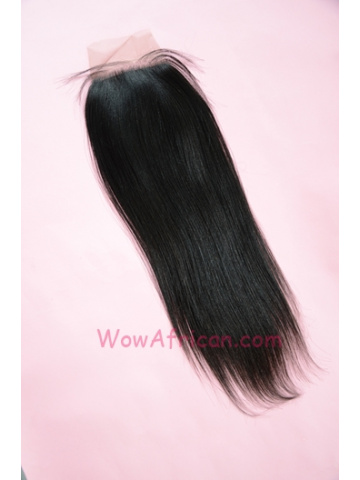 Natural Color Yaki Straight Peruvian Virgin Hair Silk Base Closure 4x4inches [SC27]