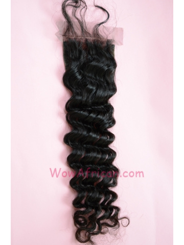 Natural Color Deep Wave Peruvian Virgin Hair Lace Closure 4x4inches [LC29]