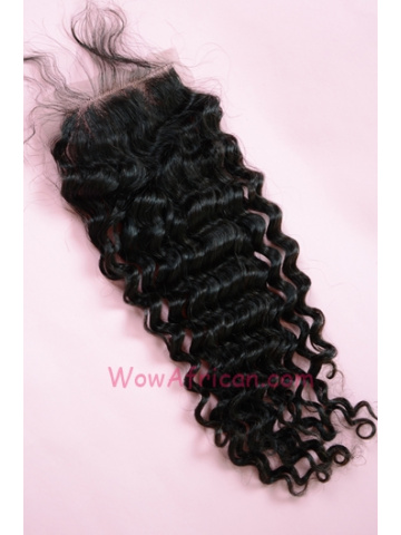 Natural Color Water Wave Brazilian Virgin Hair Lace Closure 4x4inches [LC25]