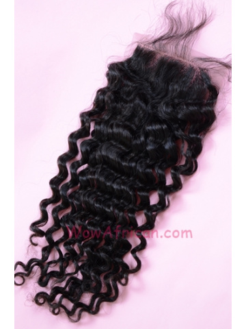 Natural Color Water Wave Peruvian Virgin Hair Silk Base Closure 4x4inches [SC30]