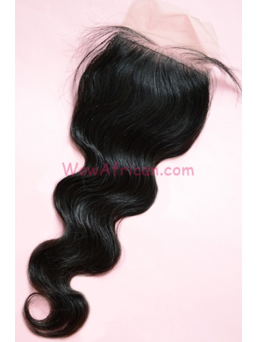 Natural Color Body Wave European Virgin Hair Silk Base Closure 4x4inches [SC33]