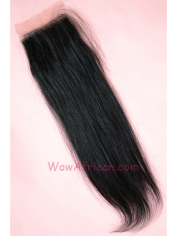 #1Jet Black Silky Straight Indian Remy Hair Silk Base Closure 4x4inches [SC01]