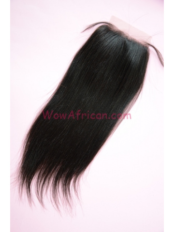 Natural Color Yaki Straight European Virgin Hair Silk Base Closure 4x4inches [SC32]