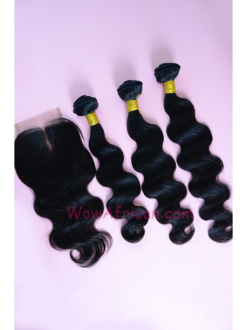 Body Wave Indian Virgin Hair 3.5X4inches Middle Part Closure with 3pcs Weaves[WB55]