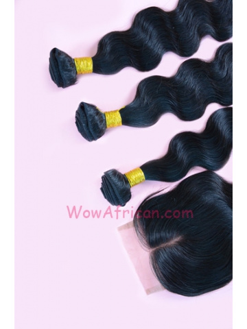 Malaysian Virgin Hair Body Wave A Lace Closure with 3pcs Weft Bundles[WB192]