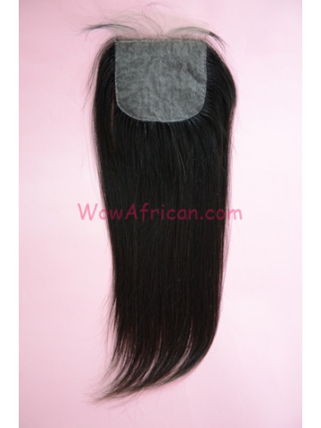 Natural Color Silky Straight Brazilian Virgin Hair Silk Base Closure 3.5x4inches [SC37]