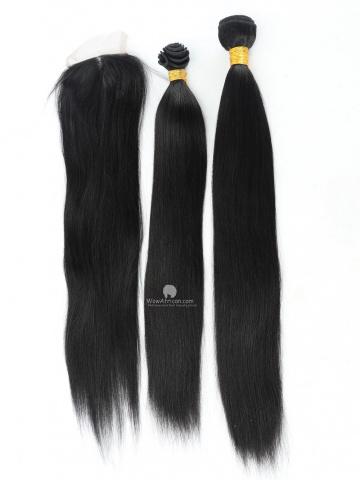 #1 Jet Black Yaki Straight Indian Hair Closure With 2pcs Weaves[CS14]